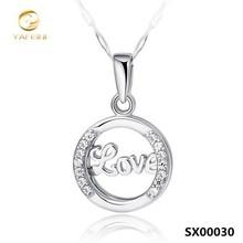 925 sterling silver diamond necklace/love necklace/cz jewelery wholesale