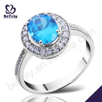Wholesale sapphire inlaid silver couple platinum rings