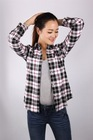 100% cotton checked latest shirt design for ladies