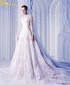 Luxo li-354 pescoço v mão bordados vestido de noiva manga longa