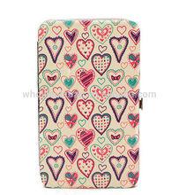 Love Heart Printing Pu Clip Clutch Wallet Purse Credit Card Cash Phone Purse Wallet Cosmetic Makp-up Pen Money Box Case