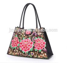 Factory OEM PU Women Handbag Cheap Embroidery Shopping Tote bag