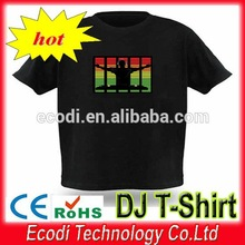 HOT!!!Sound activated flashing man EL t-shirt with wire 2AAA inverter