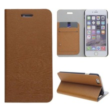 Wood Texture Flip Leather Case Book Leather Case for iPhone 6 with Card Slots