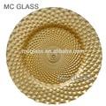 directamente de fábrica al por mayor baratos de boda de lujo decorativo de cristal de oro placa de cargador