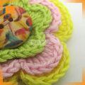 moda artesanal de fita de cetim crochet flor applique
