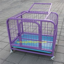 square tube dog cage movable plastic tray