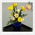 دمية 1/12scale الشرقية تبرعم أزهار اصطناعية مصغرة الطين زهرية