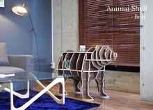 original brown bear animal shape tea desk ,animal shape ,animal shape wood shelf.home show decoration