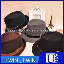 wholesale grey black woolen man fedora hat
