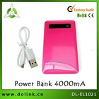 Pink cell phone power bank 4000mah and slim