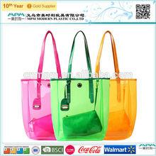Transparent pvc Tote bag/clear lastic bags/pvc beach bags