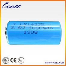 3.6v 1650mah 2/3AA size ER14335 lithium battery, 3.6V lithium thionyl chloride battery