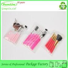 Transparent plastic makeup brush bag with slider