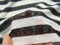 2CM Stripe width black/white lace jersey stripe knit fabric for appreal dress