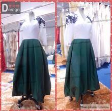 hot sale long sleeve taffeta fabric a line v neck woman dress