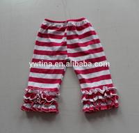 Beautiful Design Wholesale Chian Supplier Adorable Posh Red White Stripe Ruffle Cotton Tight Pants for Kids