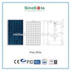 high efficiency solar panel 250w solar panel yuhuan with TUV/PID/CEC/CQC/IEC/CE