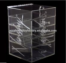Customer Design Clear Acrylic Long Hinge Cosmetic / Makeup Drawer Organizer