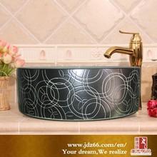 Modern style high quality sink basin black glazed art collect for bathroom decor