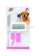 2015 novo design metel com escova de plástico pente para animais de estimação
