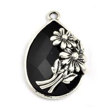Wholesale dubai Antique Silver Bezel and Black teardrop framed diamond Pendant for DIY Jewelry findings