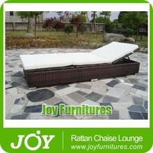 Patio Outdoor Wicker Adjustable Head Height Sun Lounger