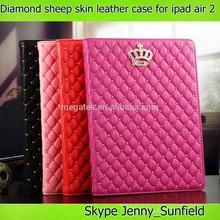 rhinestones sheep skin folio leather case for ipad air 2, for ipad air 2 case folio ,for ipad case leather