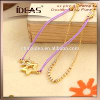 purple string five star pendant bracelet