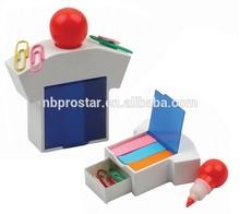 promotion Sticky ,highlight pen in T-SHIRT shape case for desk office,Stationery Set W/ Paper Clips & Sticky Note Pads