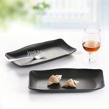 Japanese melamine black matt rectangle sushi tempura deep plates bowl dishes dinnerware set restaurant hotel supplies