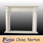 hand carved birds and plants and pot natural marble indoor fireplace NTMF-F124