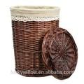gran cesta de mimbre con tapa para el almacenamiento de la fábrica de china