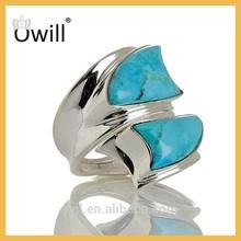 Wholesale Fashion Turquoise Ring, Luxury Two Gemstone Turquoise Ring, 925 Sterling Silver Bezel Turquoise Ring