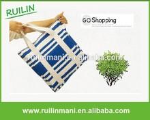 Fashion Style Stripe Fodable Canvas Shopping Bag