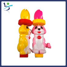 Dog toy candy dispenser with spin lotus on head