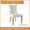 Madeira sala de jantar mobiliário tecido estampado cobrir armless jantar cadeira com botões de peixe de volta jantar cadeira tb-7124