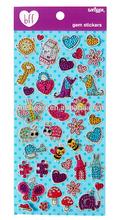 2014 Hot Selling Custom Lovely Gem Sticker/Adhesive Sticker