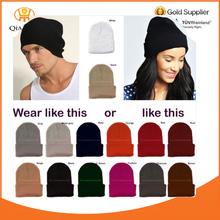 Mens Womens Plain Beanie Hat Knit Ski Cap Warm Solid Color Winter Cuff Blank New hat