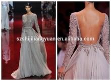 SJ1858 new design high quality crystal beaded chiffon silver high neck long sleeve backless evening dress