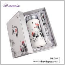 Travel gift set luxury pens vacuum tube cup