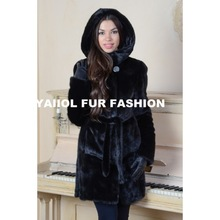 emk1442 black hood mink fur coat and belt