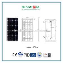 100 Watt Monocrystalline Solar Panel for sale with TUV/PID/CEC/CQC/IEC/CE