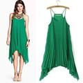 13833 nueva moda 2014 verano sin mangas fuera del hombro del o-cuello del Color puro de la mujer vestido plisado