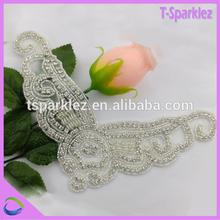 embroidered beaded stone applique for bride rhinestone belt, rhinestone accessories