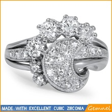 star & moon white gold support rings