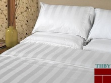 wholesale c 40*40 140*110 white bedsheet satin stripe 100% Cotton Hotel Bed Sheet fabric