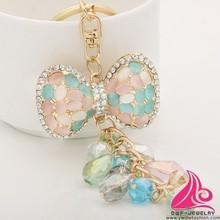 Unique Rhinestone Bow Fashion Crystal Tassel Alloy Keychain