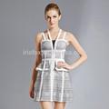 De rayonne spandex nylon impression sillonnent retour robe licou modèles,