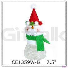 Plush Christmas Decoration Snowman Toy Candy Jar